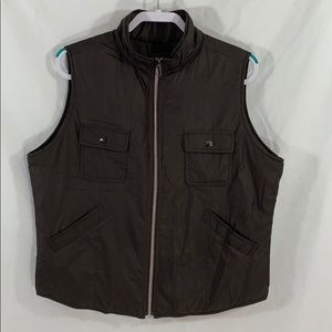 Tommy Bahama Brown puffer vest jacket sz XL nylon